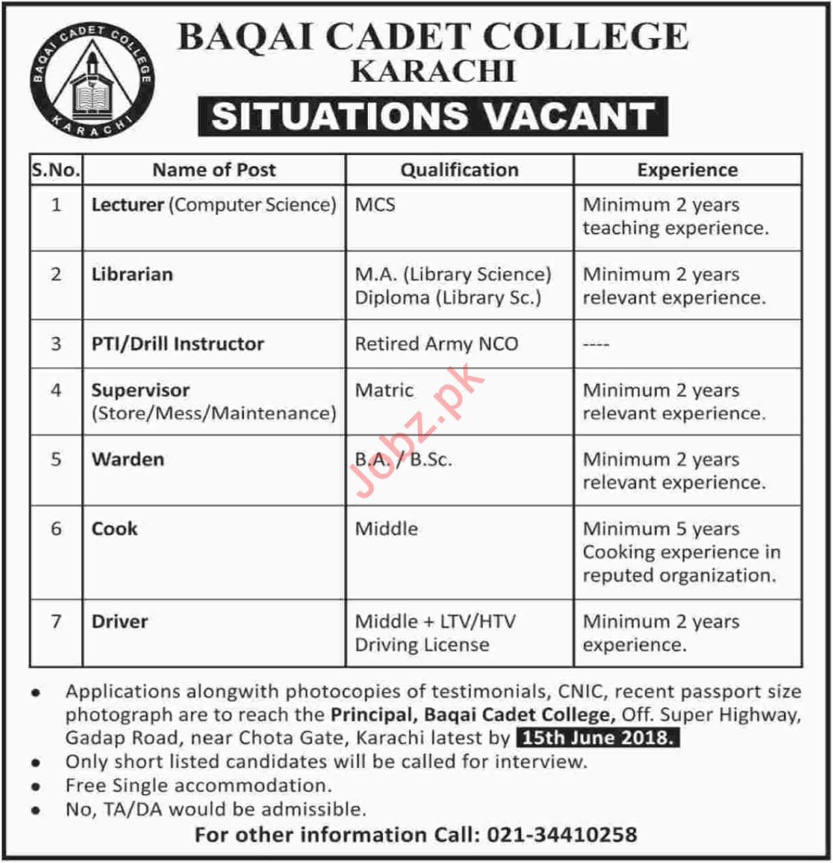 Baqai Cadet College Karachi Jobs 2018 for Lecturer