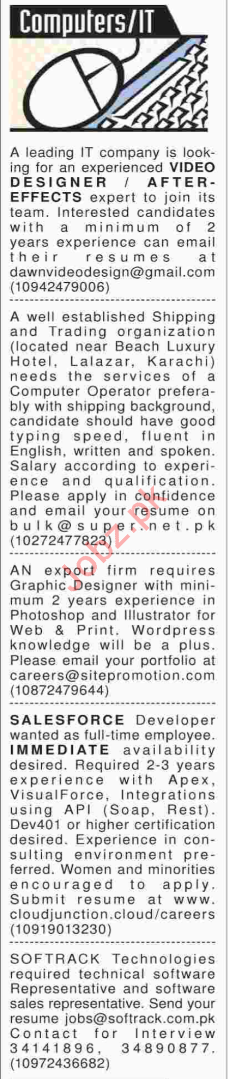 Video Designer and Graphic Designers Required