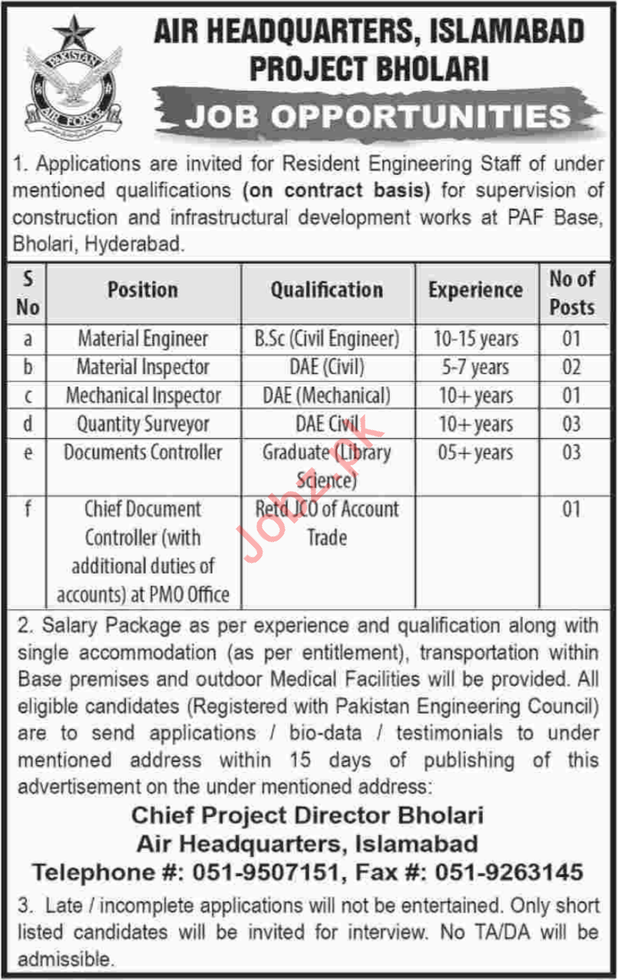 Air Headquarters PAF Islamabad Jobs 2018 for Engineers