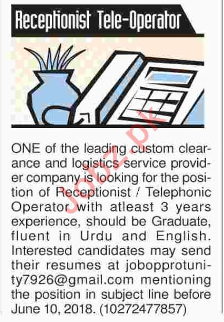 Receptionist and Tele operator Required