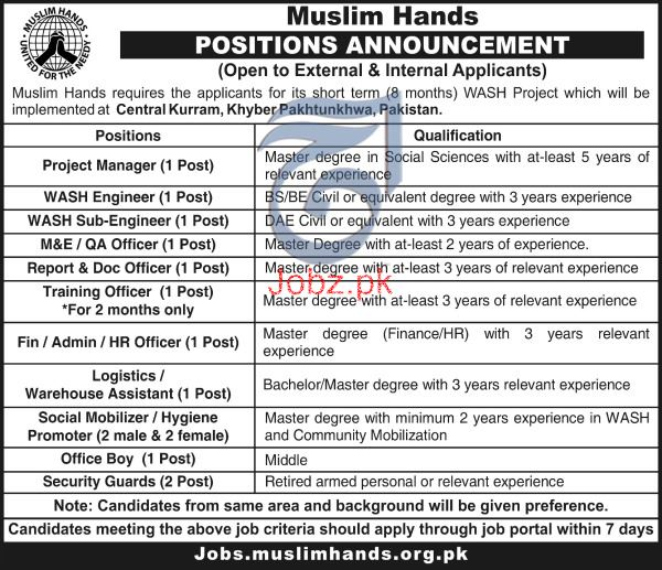 Muslim Hands Project Manager, WASH Engineers Jobs