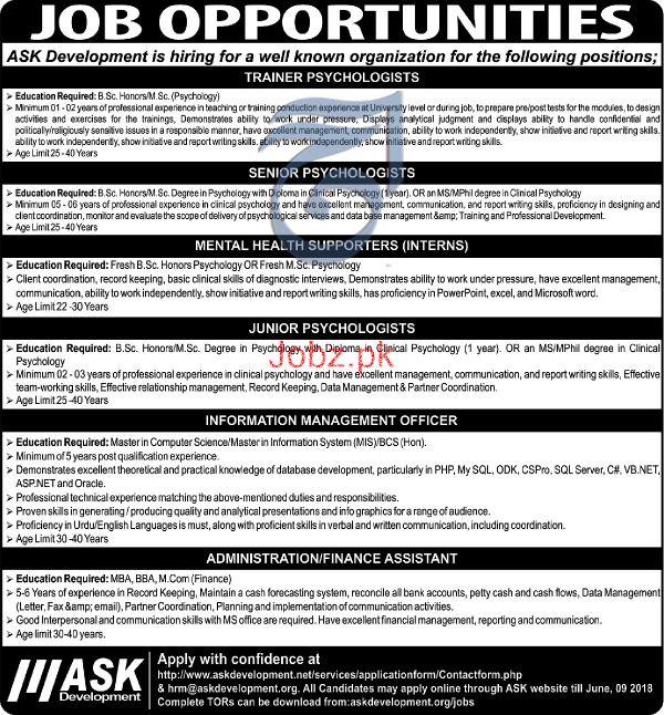 Junior Psychologists  Job in Ask Development