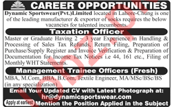 Dynamic Sportswear Lahore Jobs 2018 for Taxation Officers