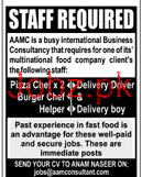 Pizza Chef, Delivery Drivers, Burger Chef Job Opportunity