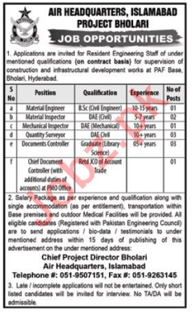 Air Headquarters Islamabad PAF Pakistan Air Force Jobs 2018