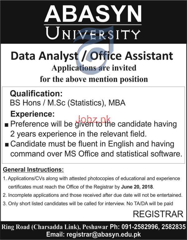Abasyn University Data Analyst / Office Assistants Jobs