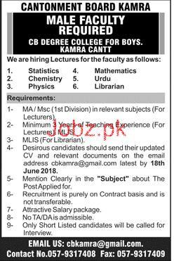 Cantonment Board Kamra CB Degree College for Boys Jobs