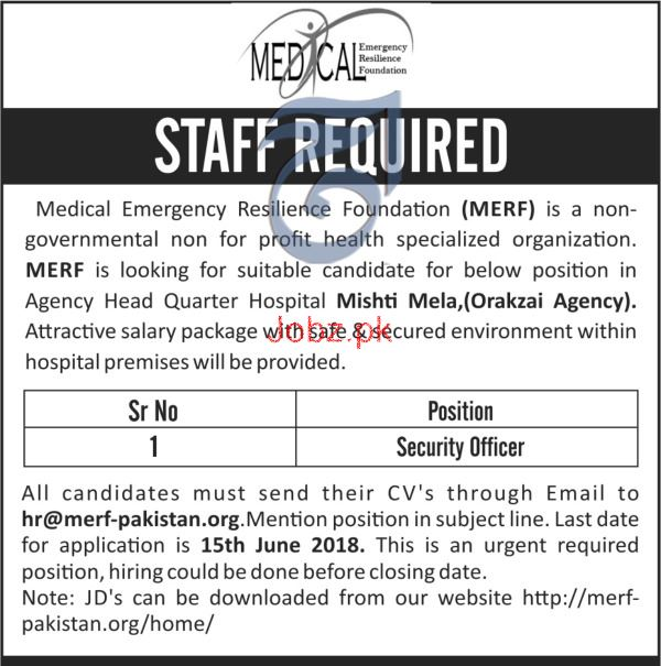 Security Officer Job in Medical Emergency Resilience  NGO
