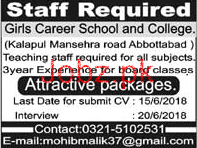 Girls Career School and College Teaching Jobs