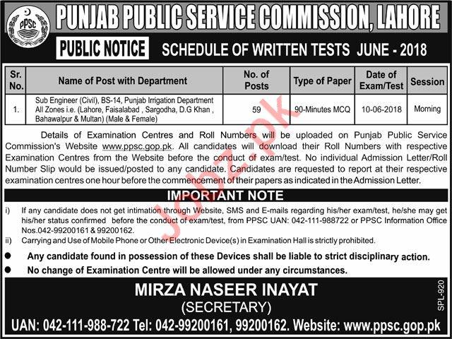 Sub Engineers Civil Job 2018 Via PPSC