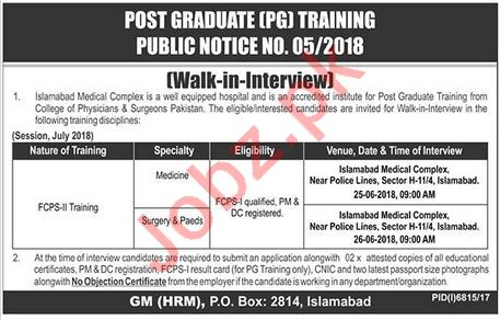 Islamabad Medical Complex IMC Jobs Interview 2018