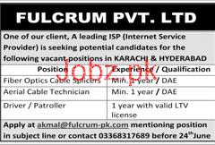Fiber Optics Cable Spicers Job in  Fulcrum Pvt Ltd