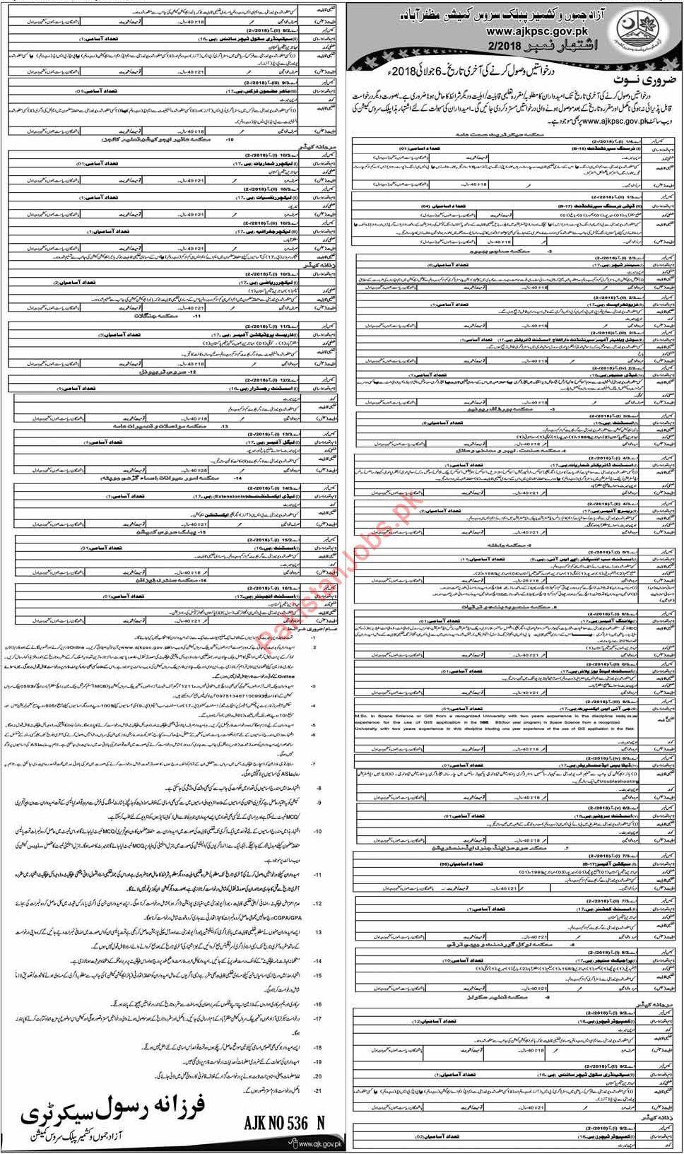 AJKPSC Muzaffarabad Jobs 2018