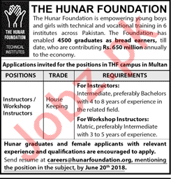The Hunar Foundation Lahore Jobs 2018 for Instructor