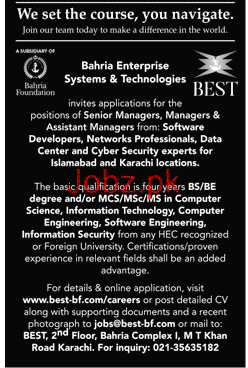Bahria Enterprise System & Technologies BEST Jobs