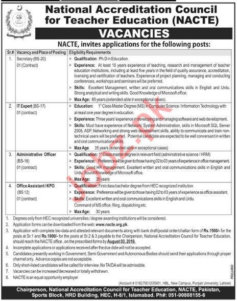 NACTE National Accreditation Council Teacher Education Jobs
