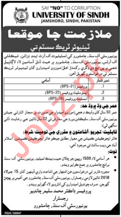 University of Sindh Faculty Jobs 2018