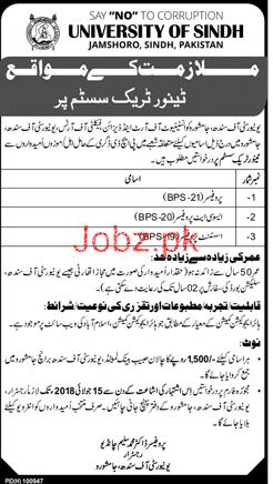 University of Sindh Jamshoro Teaching Jobs