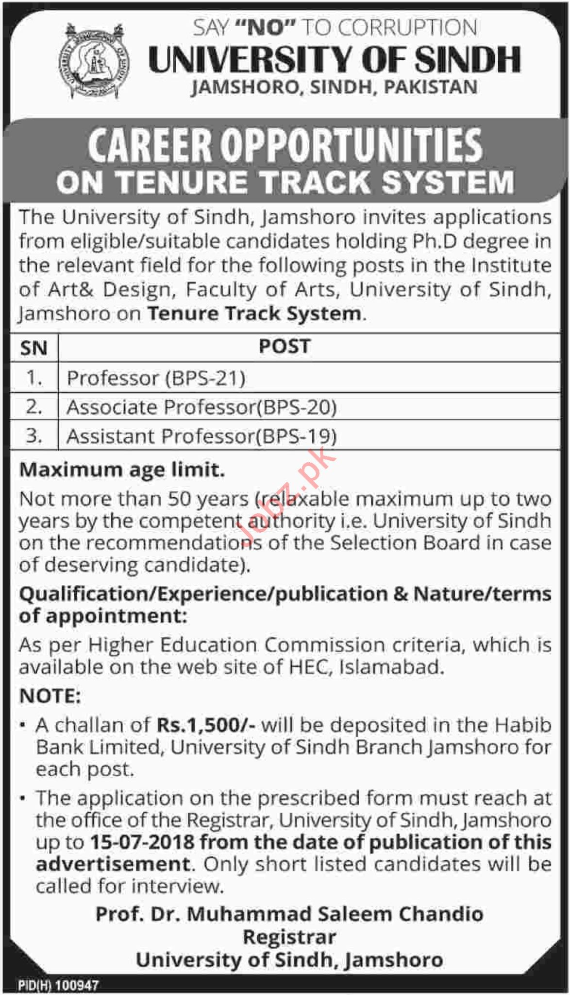 University of Sindh Jamshoro Jobs 2018 for Professors