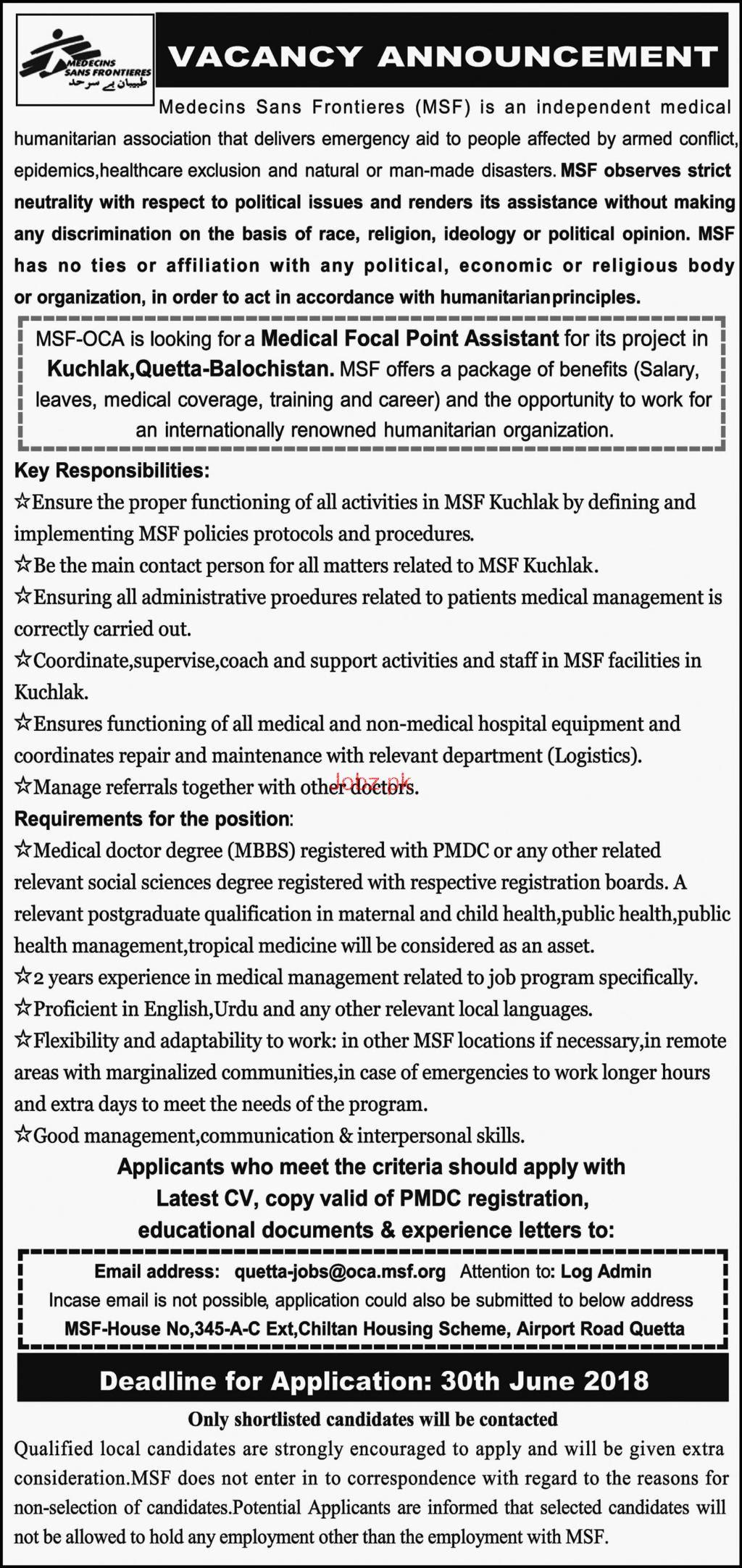 Medecins Sans Frontiers MSF  Jobs