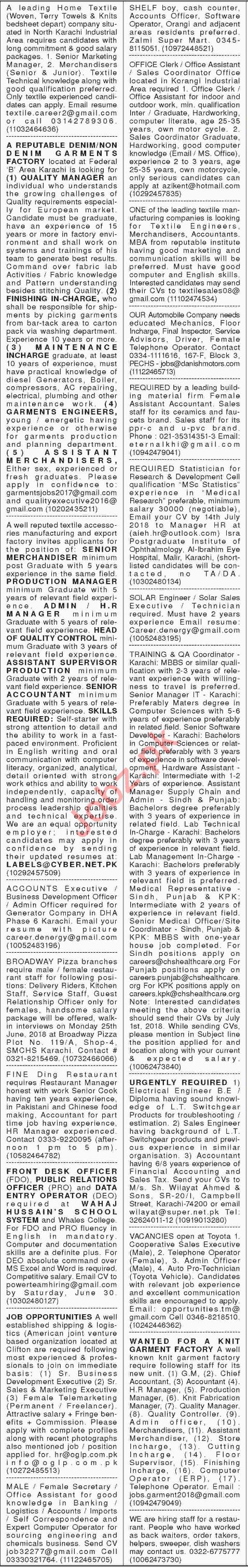 Daily Dawn Newspaper Classified Ads 2018