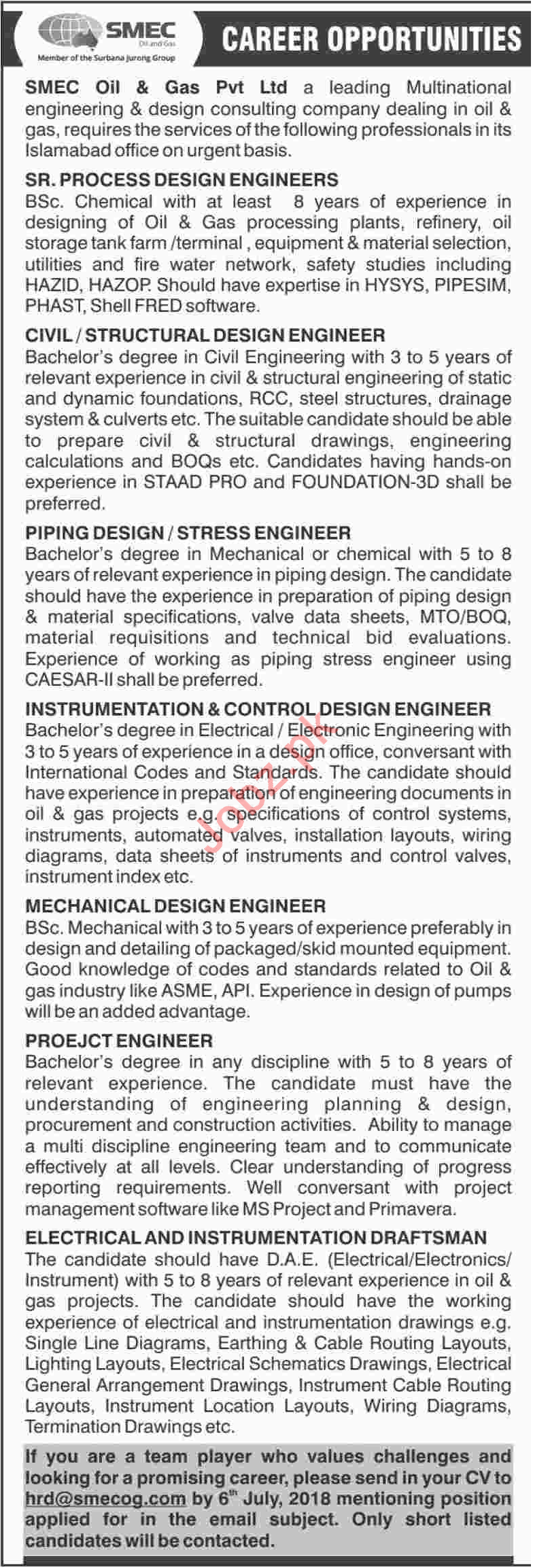 Engineers at SMEC Oil and Gas Pvt Ltd SMECOG