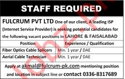 Fiber Optics Cable Slicers & Aerial Cable Technician Jobs