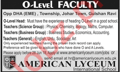 O Level Faculty for American Lyceum