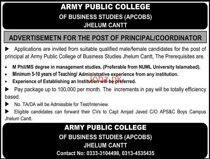 Army Public College of Business Studies APCOBS Jobs