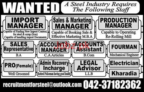 Import Manager, Production Manager Job in Steel Industry