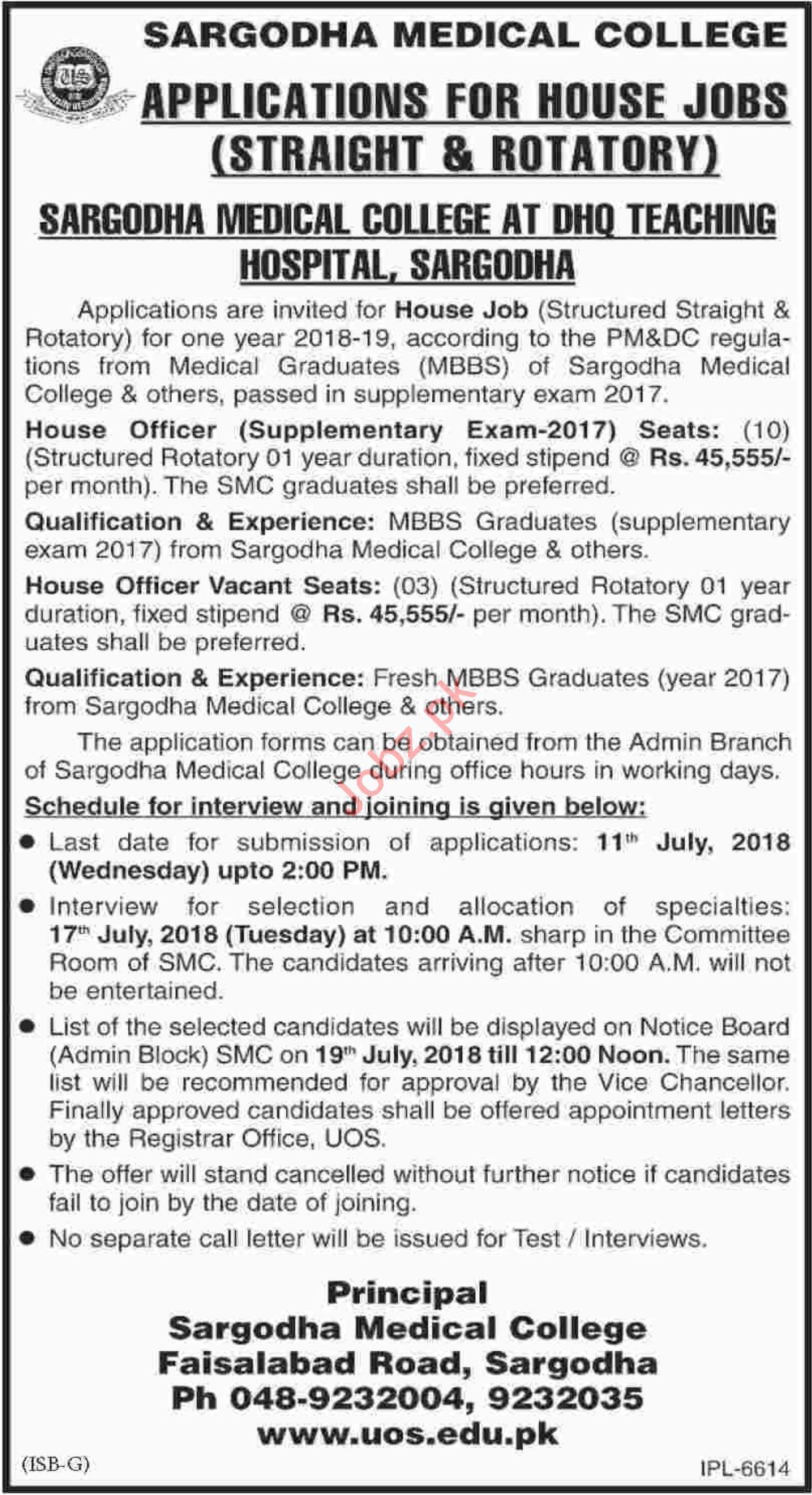 Sargodha Medical College House Jobs 2018