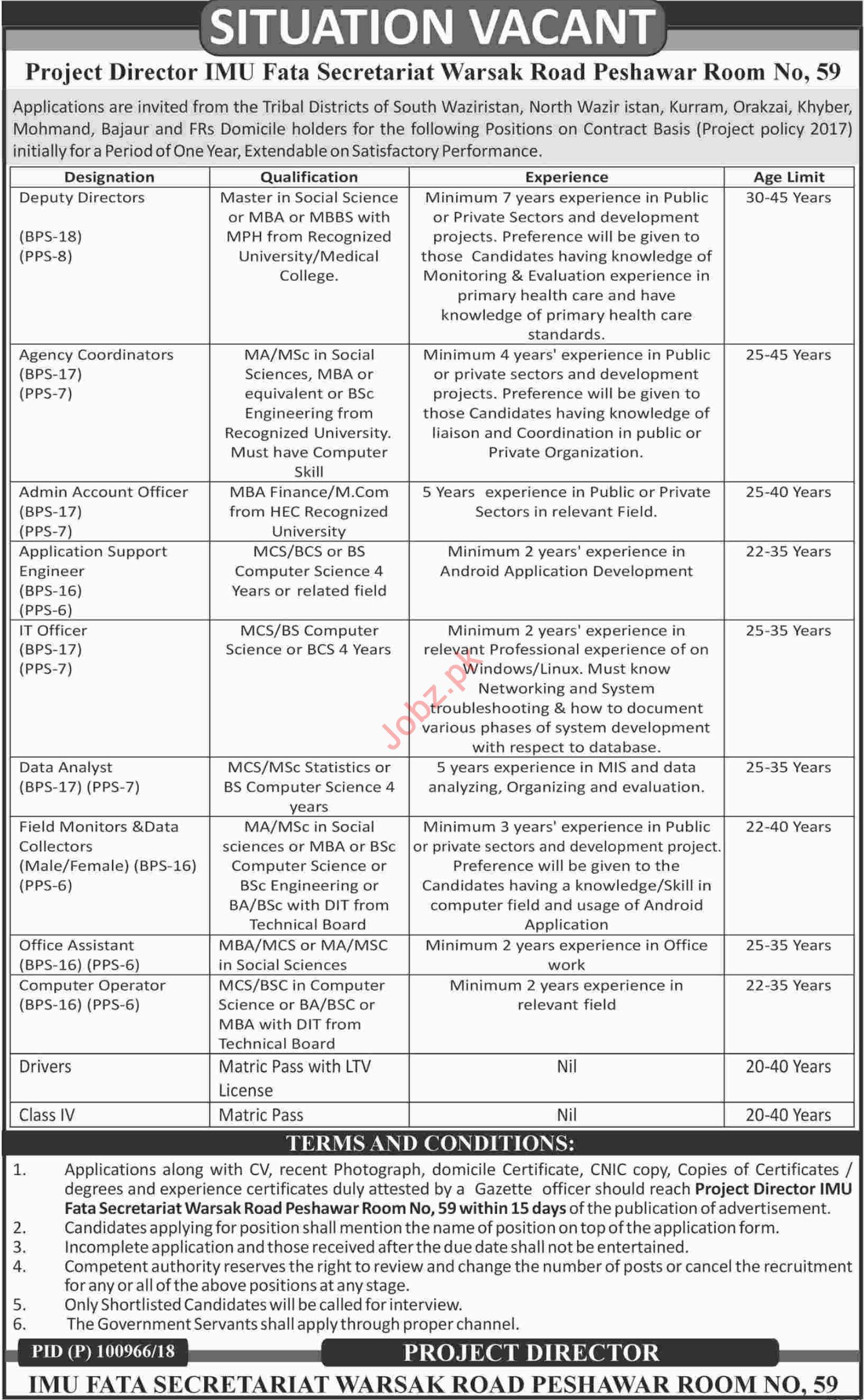 IMU FATA Secretariat Peshawar Jobs 2018 for Deputy Directors