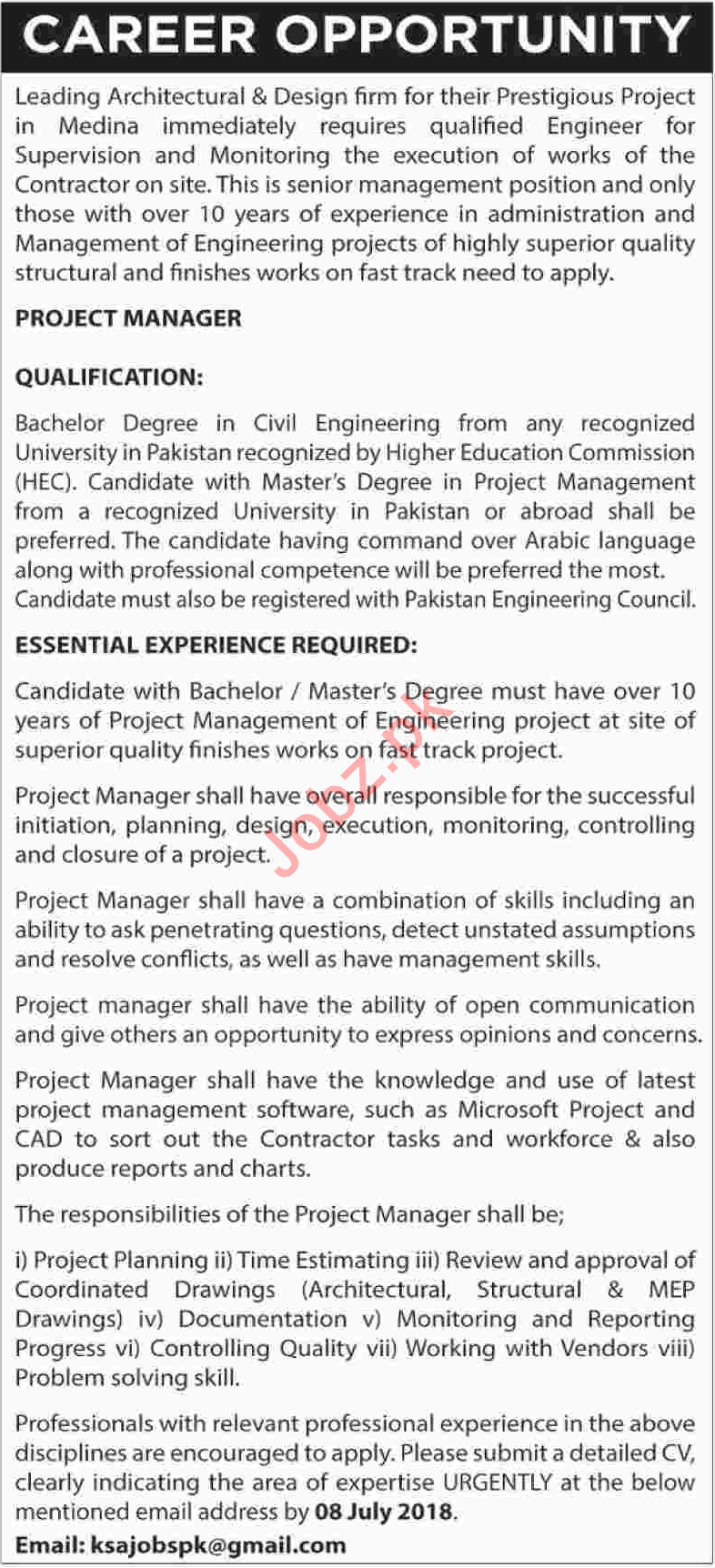 Project Manager Jobs Career Opportunity in Karachi