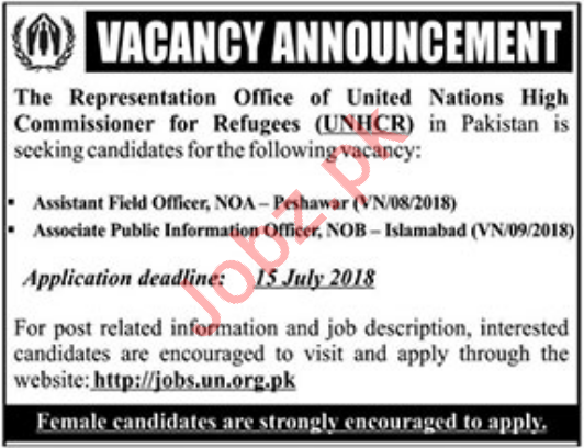 United Nations High Commissioner for Refugees UNHCR Jobs