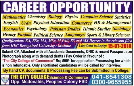 The City College Science & Commerce Teachers Jobs