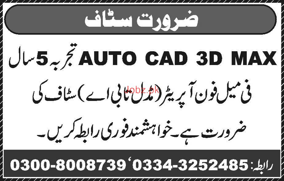 Auto CAD 3D Max Designers and Female Phone Operators Wanted