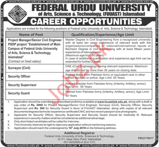 Federal Urdu University Islamabad Non Teaching Jobs 2018