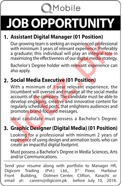 Q Mobile Lahore Jobs 2018 for Manager, Executive & Designer