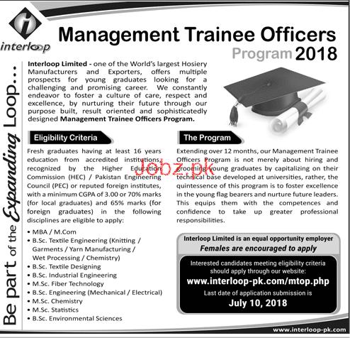 Management Trainee Officers MTO Job in Interloop