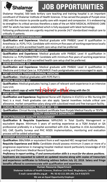 Shalamar Hospital Senior Registrar ICU Jobs