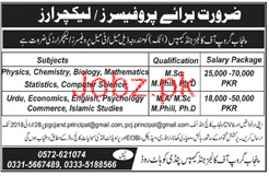 Punjab Group of Colleges Attock Campus JObs
