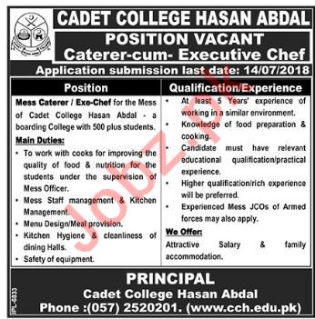 Cadet College Hasan Abdal Jobs 2018 for Mess Caterer
