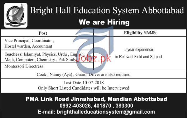 Bright Hall Education System Abbottabad Jobs
