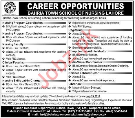 Bahria Town School of Nursing Lahore Coordinators Jobs 2018