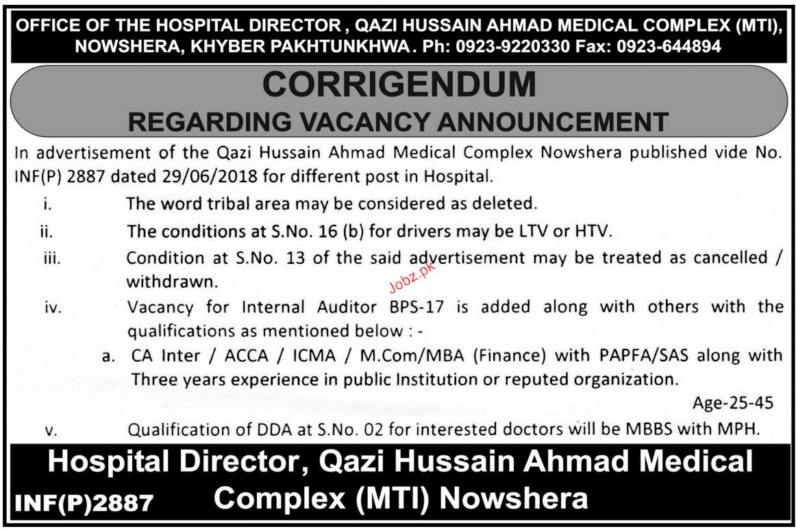 Qazi Hussain Amhad Medical Complex MTI Jobs