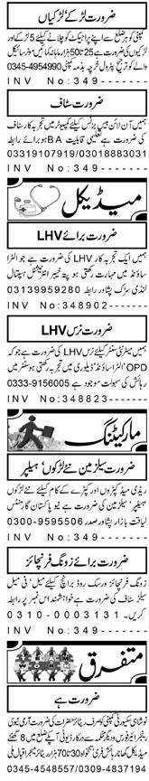 lady Health Visitors LHVs, Computer Operators Wanted