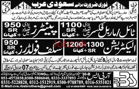 Tile / Marble Fixers, Painters, Electricians Job Opportunity