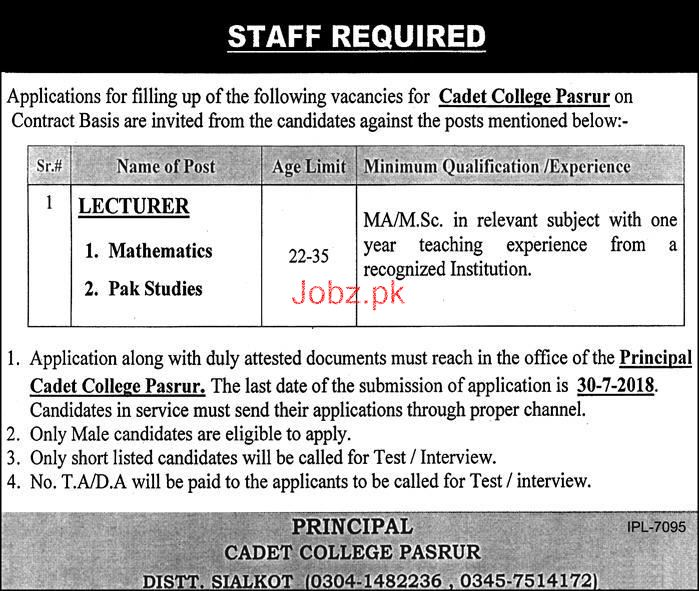 Cadet College Pasrur  Lecturers Jobs