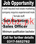 Sales Officers and TeleMarketing Staff Job Opportunity