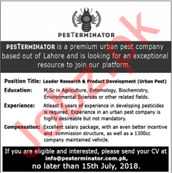Leader Research & Product Development Officer Lahore Jobs